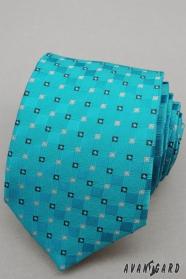 Krawatte türkis mit kleinen Würfeln