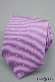 Lila Krawatte mit Streifen und silbernen Quadraten