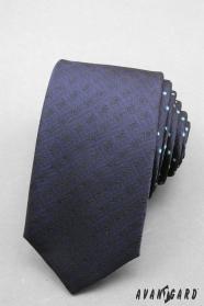 Schmale Krawatte dunkelblau mit Pünktchen