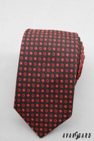 Krawatte SLIM schwarz rote Tupfe