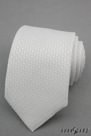 Weiße Krawatte mit silbernen Tupfen