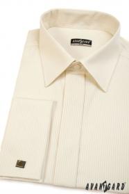 Herrenhemd SLIM Creme mit schmalen Streifen, verlängerte Größe