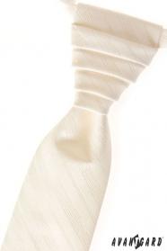 Cremige Hochzeitskrawatte mit feinen Streifen