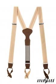 Herren Hosenträger in Elfenbeinfarbe mit braunen Leder und Lederschlaufen