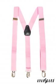 Rosa Drei-Punkt-Hosenträger mit schwarzem Leder