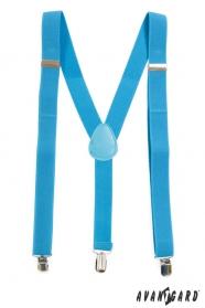 Türkise Männer Y-förmige Hosenträger mit blauem Leder und Metallclips
