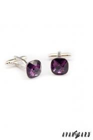 Manschettenknöpfe mit violettem Stein