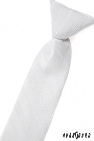 Weiße Kinder Krawatte mit silbernem Muster