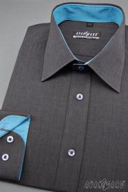Herren Graphit Hemd mit türkisfarbenen Accessoires