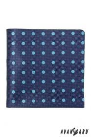 Blaues strukturiertes Einstecktuch mit hellem Punkt