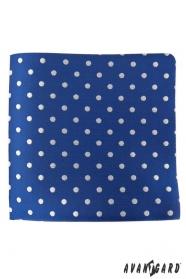 Blaues Einstecktuch mit silbernen Tupfen