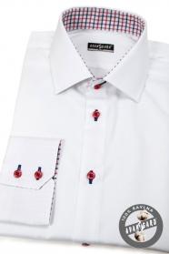 Weiß Slim-Fit-Hemd mit roten Knöpfen