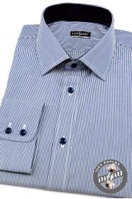 Herren Hemd SLIM langarm  feine blaue und weiße Streifen
