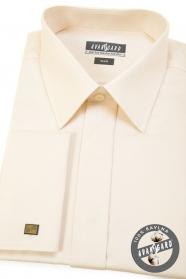 Herren Hemd SLIM verdeckte Knopfleiste  Beige strukturiert