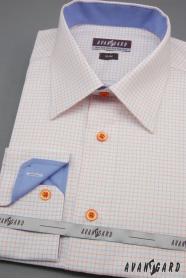Weißes Herren Hemd Slim mit blauen und orangefarbenen Accessoires