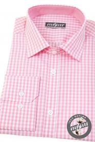 Slim Herrenhemd mit rosa Würfel langen Ärmeln