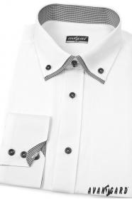 Weißes SLIM Hemd mit schwarzen Accessoires, Langarm