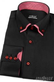 Herren Hemd SLIM schwarz mit Rot innen