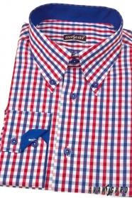 Herren Hemd SLIM kariert Blau mit Rot