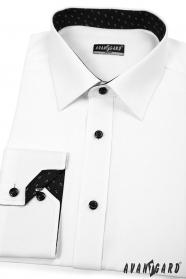 Herrenhemd SLIM weiß-schwarz Kombination