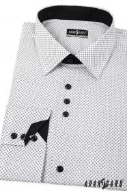 Weißes Slim Fit Hemd mit schwarzen Accessoires - lange Ärmel