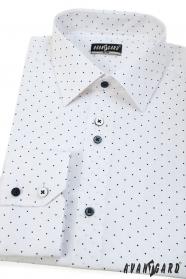 Weißes slim Herren-Hemd mit blauen Punkten, langen Ärmeln