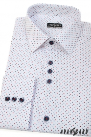 Weißes slim Hemd mit blau-roten Punkten, lange Ärmel
