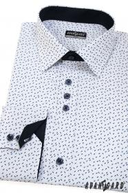Weißes Langarm SLIM Hemd, weiße, blaue Linien