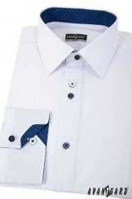 Weißes Slim Hemd mit blauen Accessoires langen Ärmeln