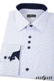 Weißes Slim Hemd mit blauem Muster langen Ärmeln