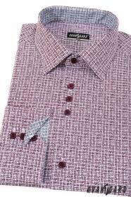 Burgunder gemustertes Slim Hemd lange Ärmel