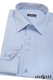 Blaues Slim Herrenhemd mit Innenmuster, lang Ärm