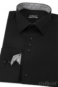 Schwarzes Herrenhemd, lange Ärmel
