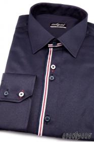 Herren Hemd SLIM langarm  Blau mit Streifen