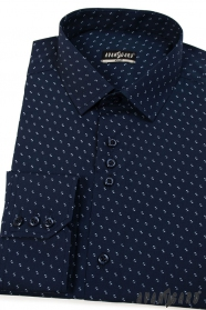 Dunkelblaue Hemd SLIM mit Muster