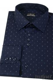 Dunkelblaues Slim Hemd mit Doppelstreifen, langen Ärmeln