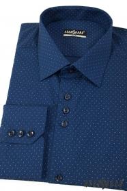 Blaues Slim Herrenhemd mit feinen Punkten, langen Ärmeln