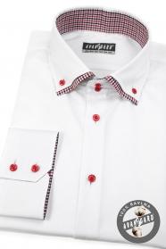 Weißes Hemd SLIM Langarm, rote Knöpfe