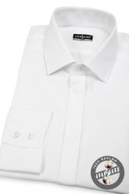 Herren Hemd SLIM verdeckte Knopfleiste  Weiß