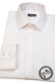 Herren Hemd SLIM mit verdeckter Knopfleiste - Cremig