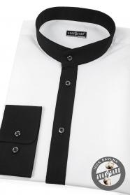 Weißes slim Hemd mit schwarzem Flügelkragen