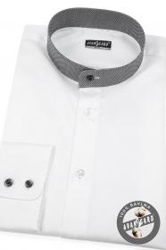 Weißes slim Hemd mit kariertem Flügelkragen