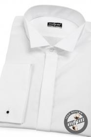 Smokinghemd SLIM für Manschettenknöpfe Weiß glatt