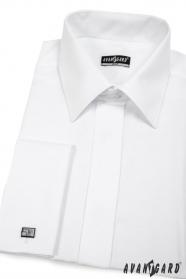 Herren Hemd SLIM verdeckte Knopfleiste  Weiß glatt
