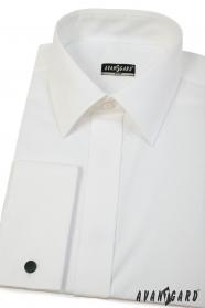 Slim-Fit Hemd in Creme mit französischen Manschetten