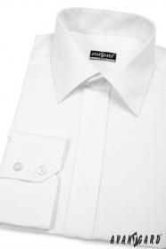 Herren Hemd SLIM mit eleganter verdeckter Knopfleiste  Weiß