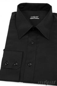 Herren Hemd SLIM schwarz weiche Baumwolle