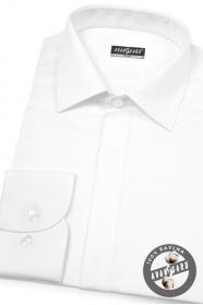 Herren Hemd SLIM verdeckte Knopfleiste  Weiß und glatt mit Glanz