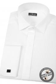 Weißes Pikee Smokinghemd mit Doppelmanschette