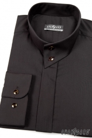 Hemd mit Flügelkragen, langarm  Schwarz